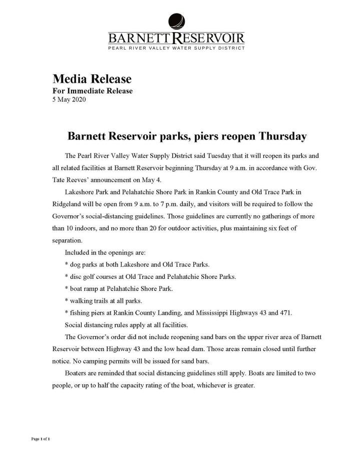 Ross Barnett Reservoir Reopens May 7th